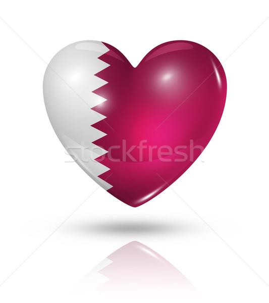 Amor Catar coração bandeira ícone símbolo Foto stock © daboost