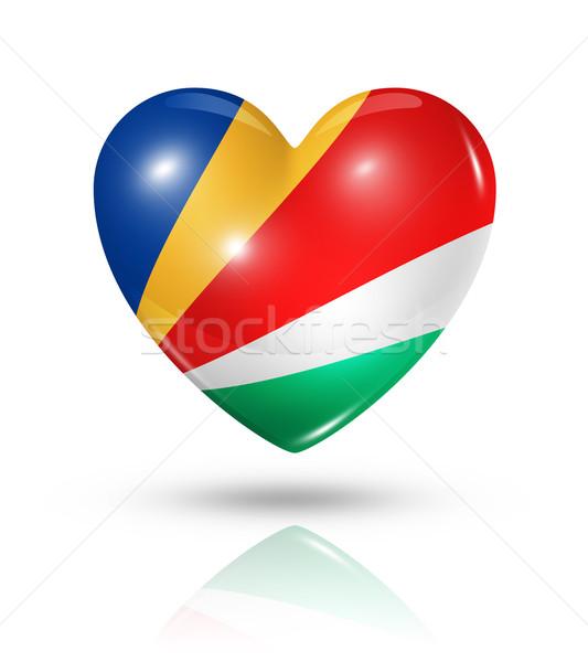 Szeretet Seychelle-szigetek szív zászló ikon szimbólum Stock fotó © daboost