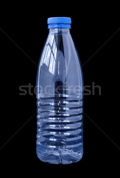Stockfoto: Plastic · fles · water · geïsoleerd · zwarte