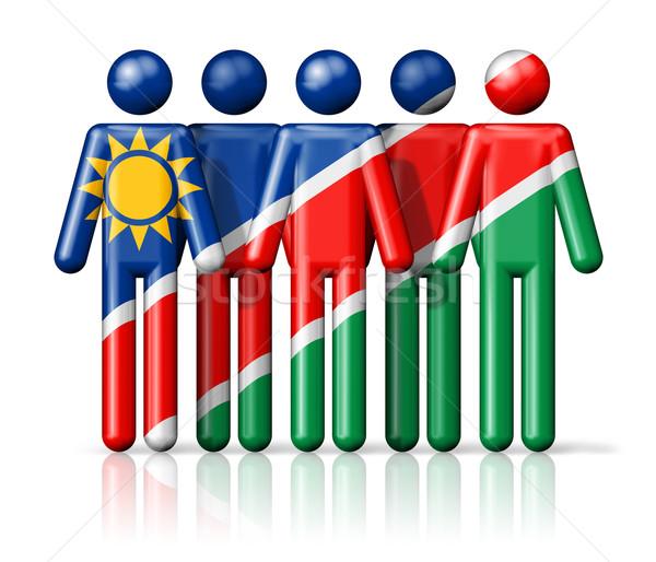 флаг Намибия stick figure социальной сообщество символ Сток-фото © daboost