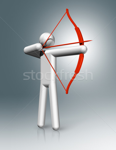 Stock photo: Archery 3D symbol, Olympic sports