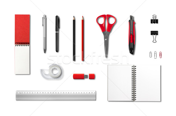 Stationery, office supplies mockup template, white background Stock photo © daboost