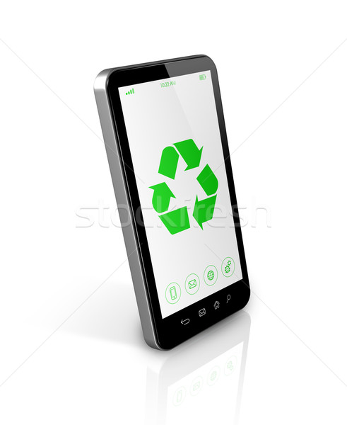 Smartphone with a recycle symbol on screen. environmental conser Stock photo © daboost