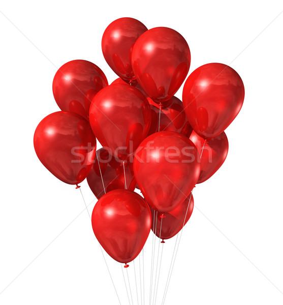 Rood ballonnen groep geïsoleerd witte 3D Stockfoto © daboost