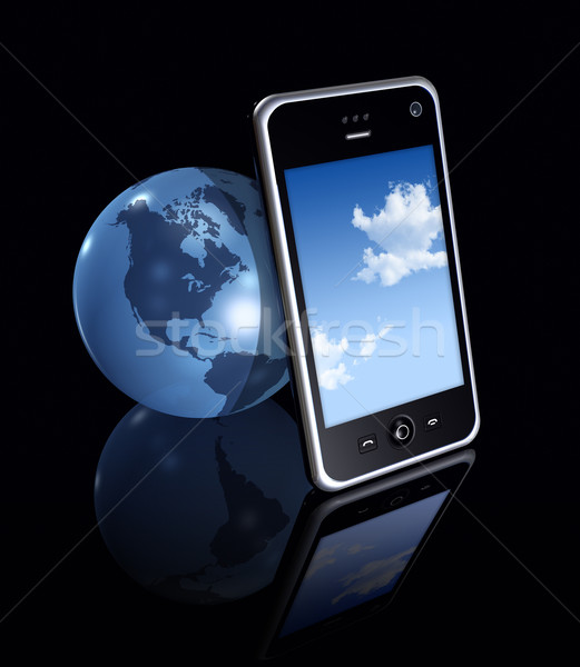 3D mobile phone and earth globe Stock photo © daboost