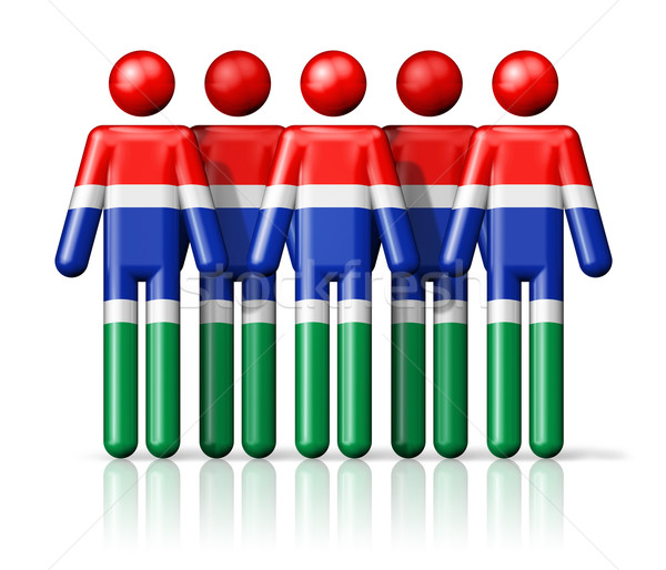 Flag of Gambia on stick figure Stock photo © daboost