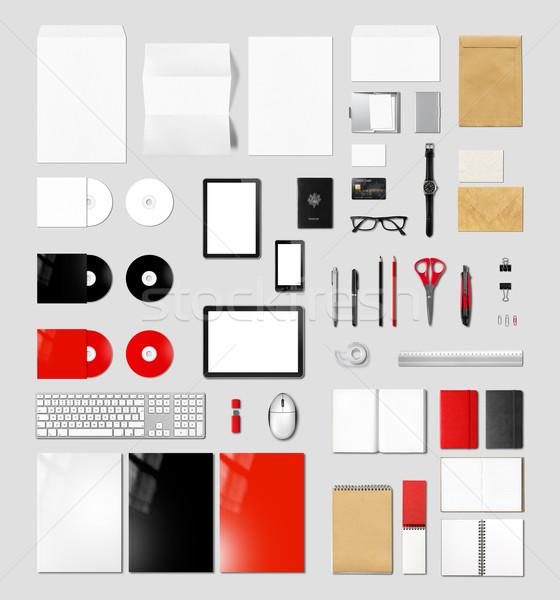 Stock fotó: Termékek · branding · vázlat · sablon · szürke · izolált