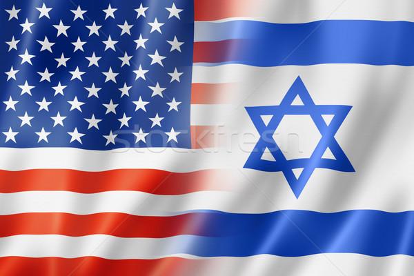USA Israel Flagge gemischte dreidimensionale Stock foto © daboost
