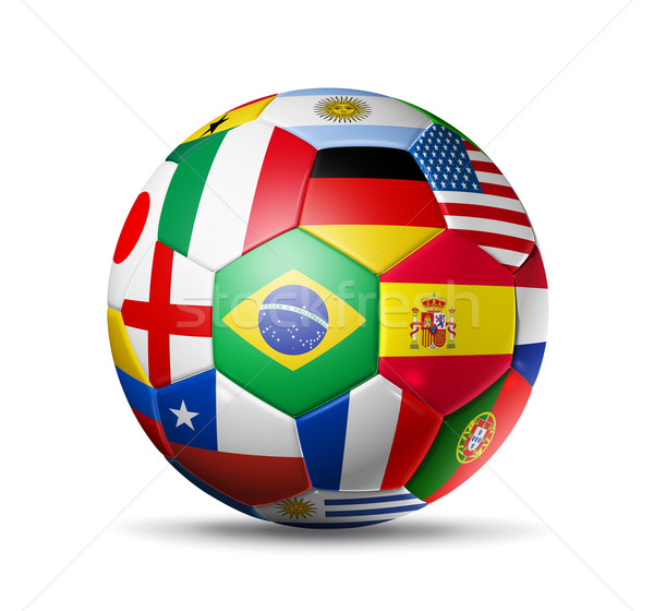 Brezilya futbol topu dünya bayraklar 3D Stok fotoğraf © daboost