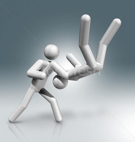 Judo 3D simge spor üç boyutlu Stok fotoğraf © daboost