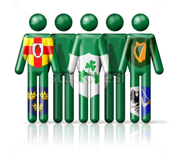 Flag of Ireland - IRFU on stick figure Stock photo © daboost