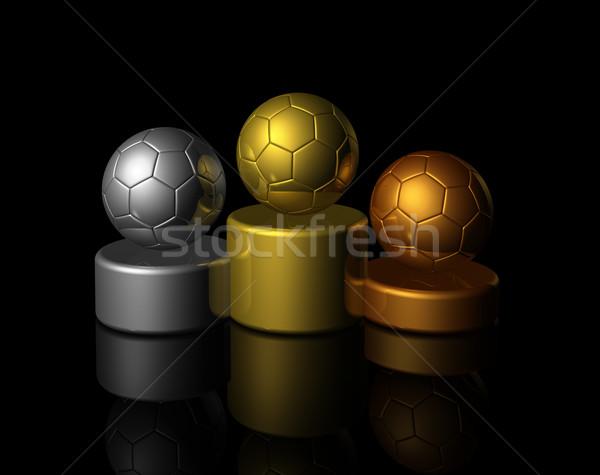 Foto stock: 3D · fútbol · ganadores · podio · bronce · plata
