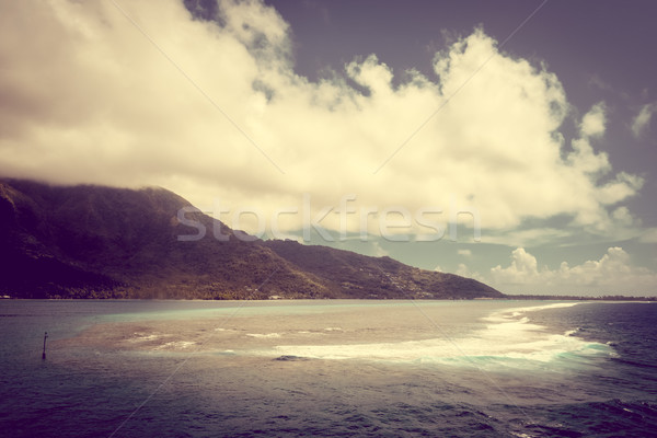 Moorea island and pacific ocean lagoon landscape Stock photo © daboost