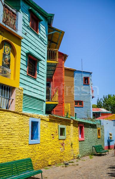 красочный домах древесины улице краской металл Сток-фото © daboost