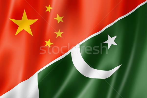 Çin Pakistan bayrak karışık üç boyutlu vermek Stok fotoğraf © daboost