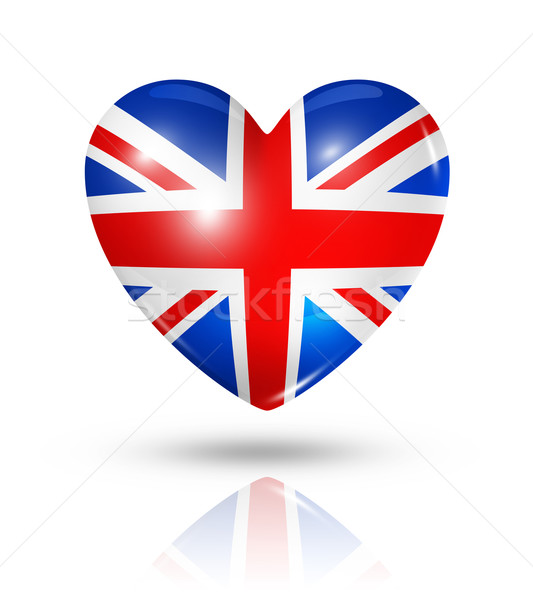 Amour Royaume Uni Coeur Pavillon Icône Symbole