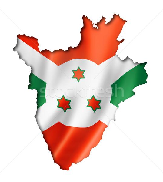 Burundian flag map Stock photo © daboost