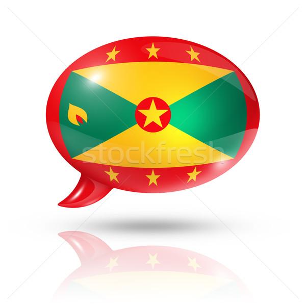 Grenada zászló szövegbuborék háromdimenziós izolált fehér Stock fotó © daboost