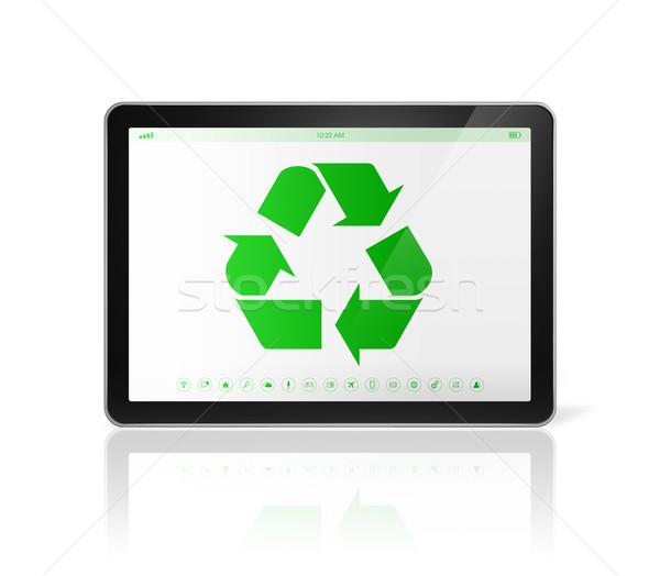 Digitális táblagép újrahasznosít szimbólum képernyő környezeti Stock fotó © daboost