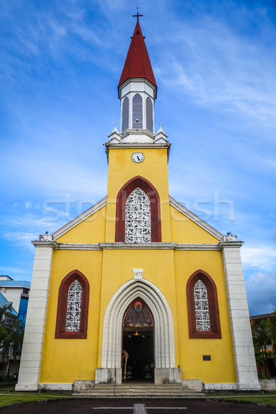 Papeete city Cathedral, Tahiti island Stock photo © daboost