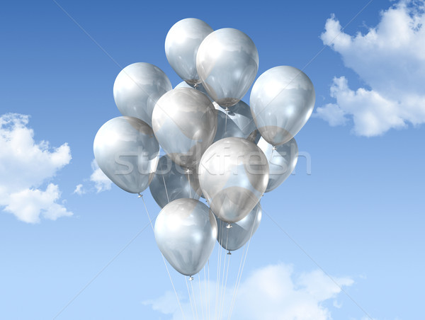 white balloons on a blue sky Stock photo © daboost