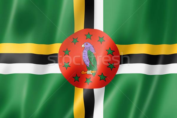Dominica vlag geven satijn textuur Stockfoto © daboost