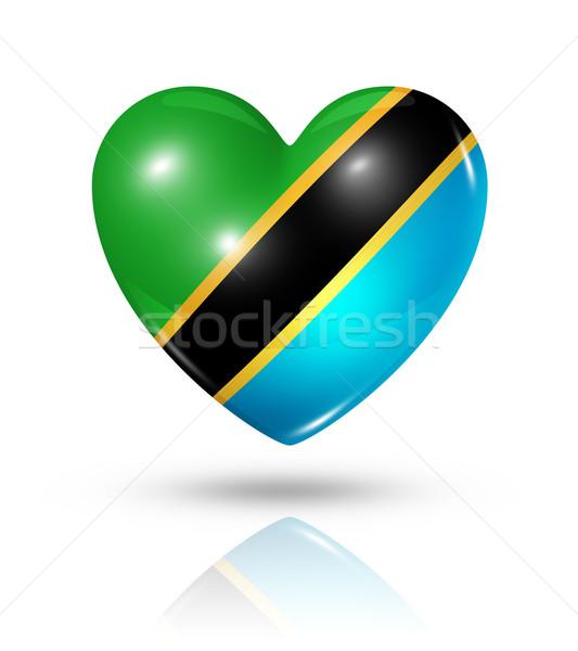 Miłości Tanzania serca banderą ikona symbol Zdjęcia stock © daboost