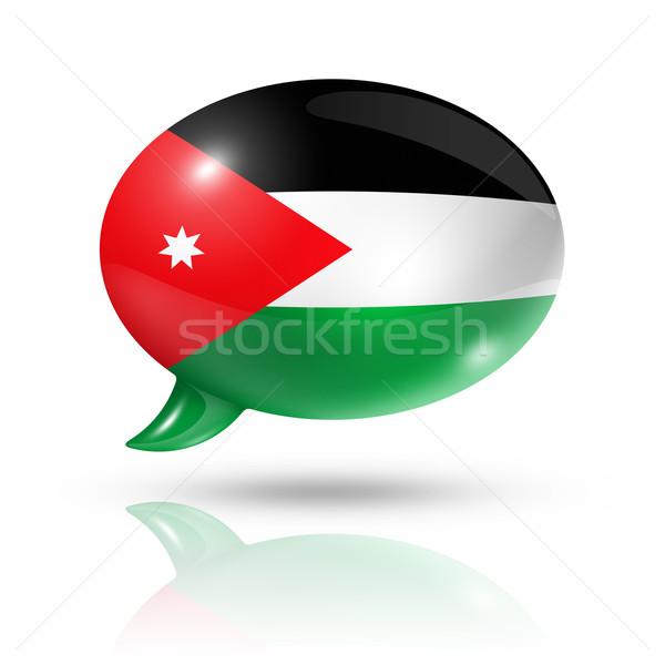 Foto stock: Bandeira · balão · de · fala · tridimensional · Jordânia · isolado · branco