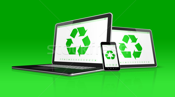 Laptop tablet PC and smartphone with a recycle symbol on screen. Stock photo © daboost