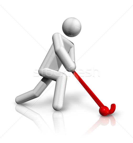 Hockey 3D símbolo tridimensional mundo equipo Foto stock © daboost