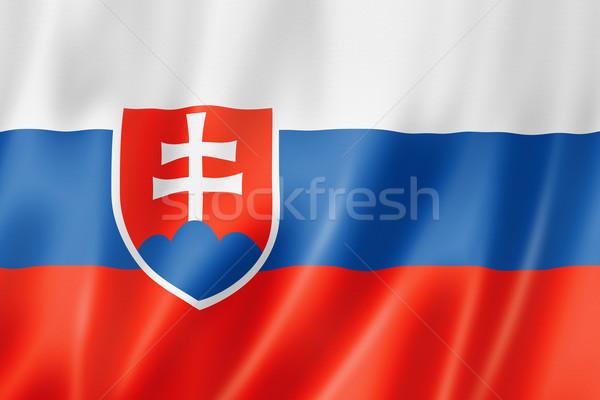 Zászló Szlovákia háromdimenziós render szatén textúra Stock fotó © daboost
