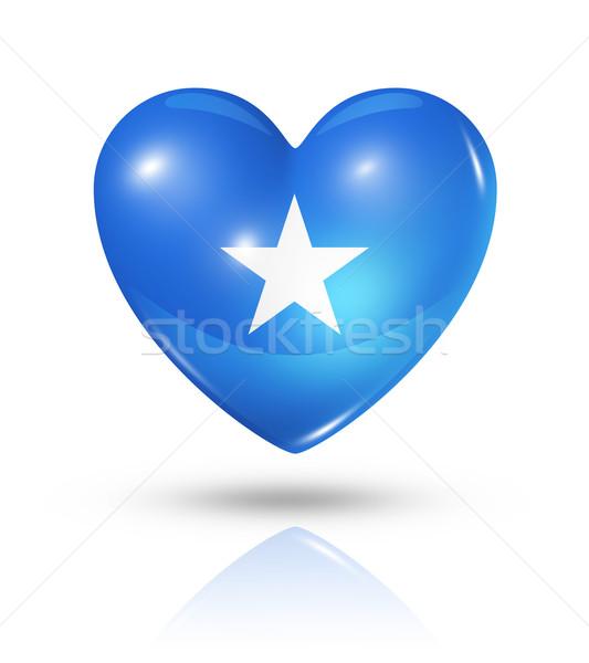 Miłości Somali serca banderą ikona symbol Zdjęcia stock © daboost