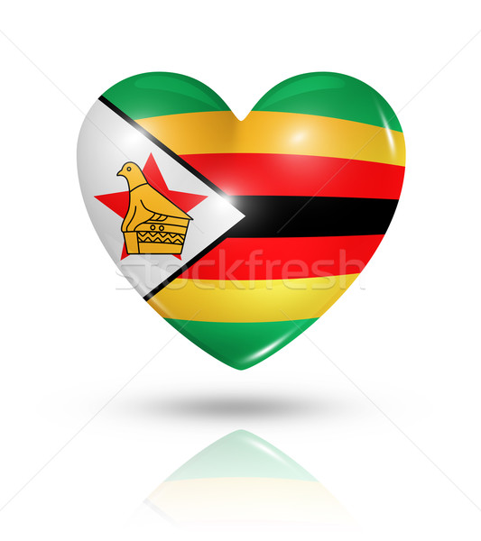 Love Zimbabwe, heart flag icon Stock photo © daboost