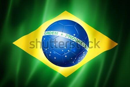 Soccer football ball with Brazil flag Stock photo © daboost