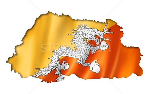 Bhutan vlag kaart geven geïsoleerd Stockfoto © daboost