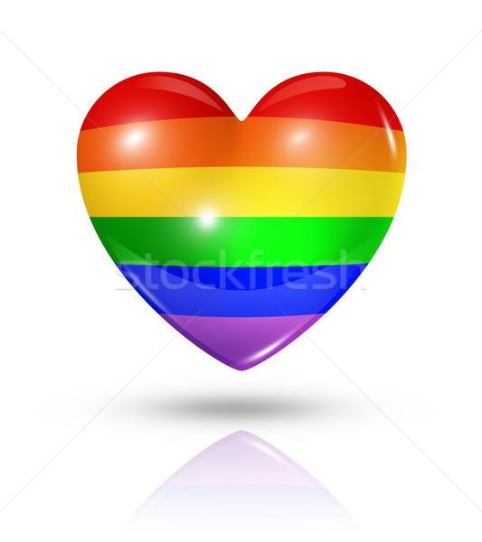 гей гордость любви символ сердце флаг Сток-фото © daboost