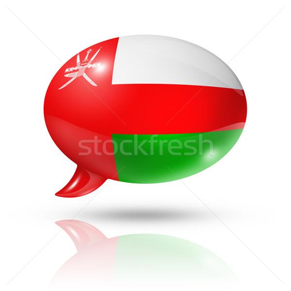 Omán zászló szövegbuborék háromdimenziós izolált fehér Stock fotó © daboost