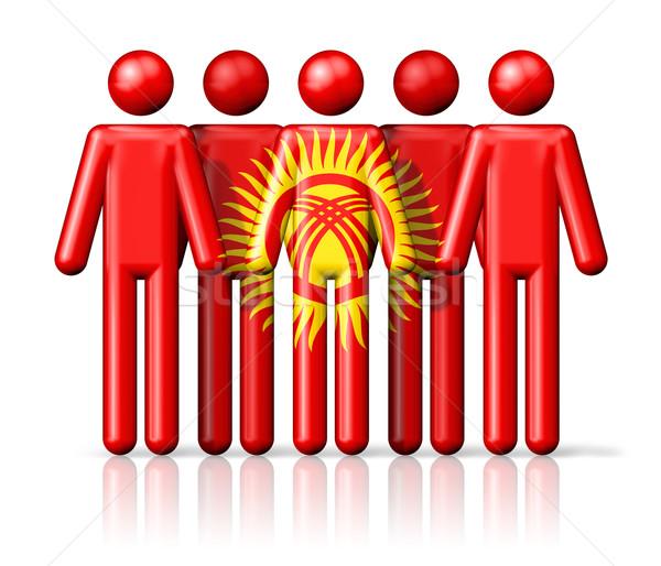 Zászló Kirgizisztán pálcikaember társasági közösség szimbólum Stock fotó © daboost