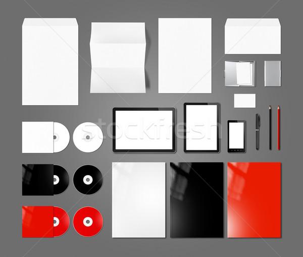 Branding identity design mockup template, dark grey background Stock photo © daboost