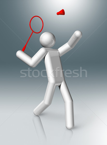 Badminton 3D symbol, Olympic sports Stock photo © daboost