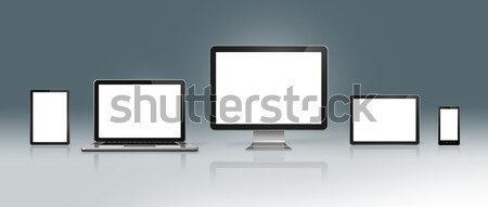 High Tech Computer Set on a deep grey background Stock photo © daboost