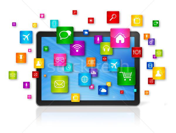Digitale vliegen apps iconen 3D Stockfoto © daboost