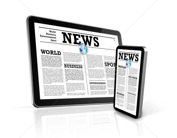 news on mobile phone and digital tablet pc computer Stock photo © daboost