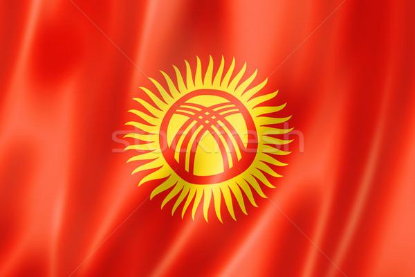 Kırgızistan bayrak üç boyutlu vermek saten doku Stok fotoğraf © daboost