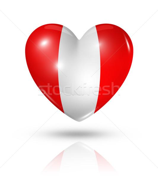 Sevmek Peru kalp bayrak ikon simge Stok fotoğraf © daboost