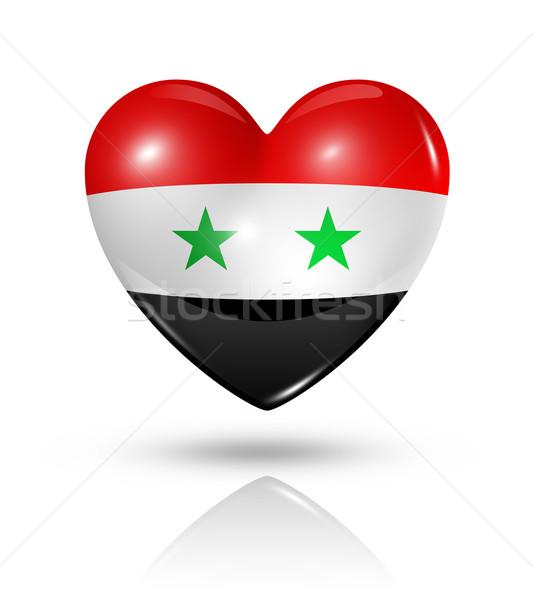 Foto stock: Amor · Síria · coração · bandeira · ícone · símbolo