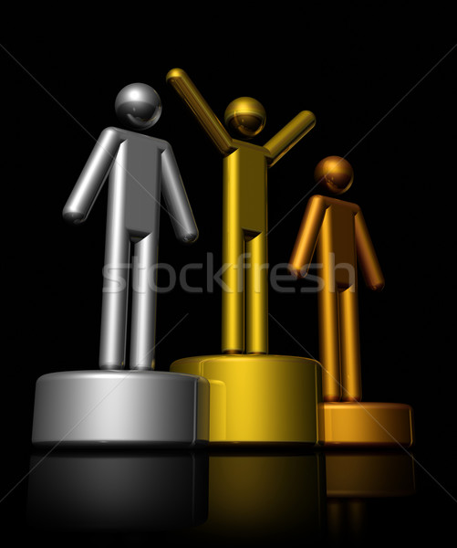 3D gagnants podium bronze argent or Photo stock © daboost