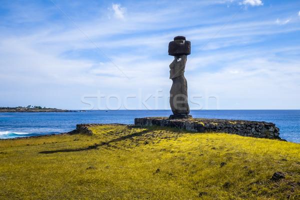 Moais statues, ahu ko te riku, easter island Stock photo © daboost