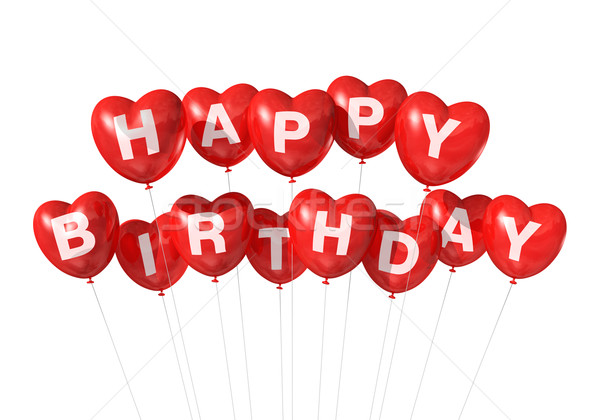 Red Happy Birthday heart shape balloons Stock photo © daboost