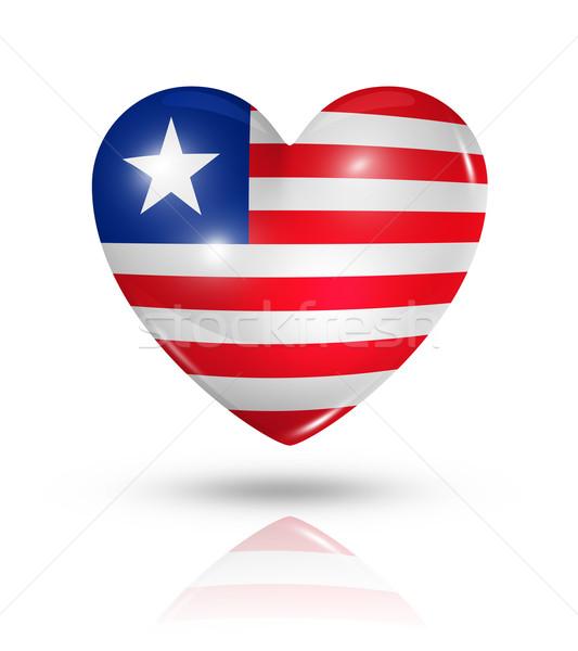 Love Liberia, heart flag icon Stock photo © daboost